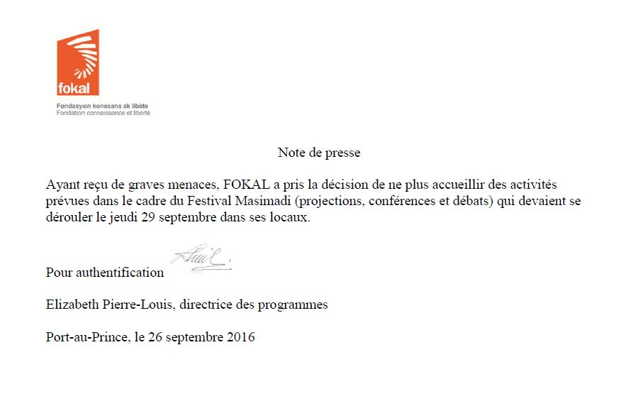 Capture Note de Presse Annulation