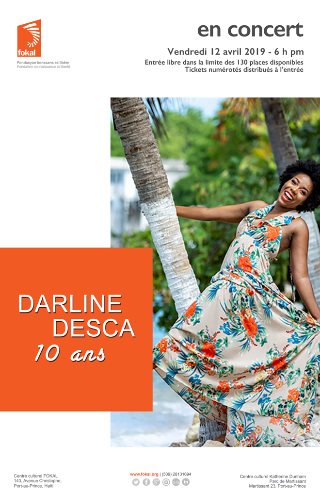 affiche concert Darline Desca 12 avril 19